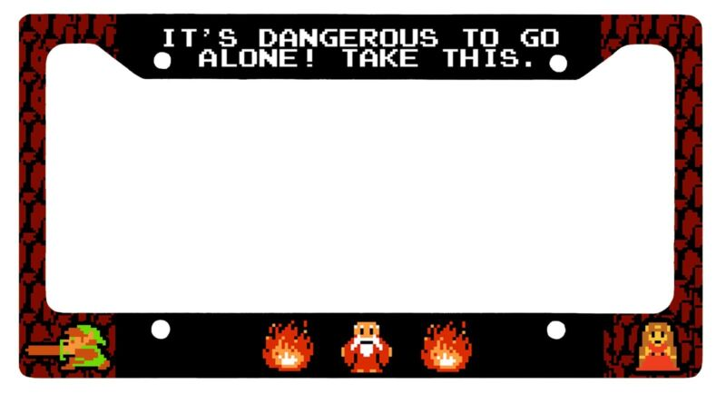 L@@K! 8 bit Zelda - Its Dangerous to Go Alone License Plate Frame - Link Hyrule