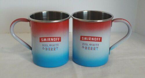 Pair Set of 2 Smirnoff Vodka 16oz Steel Mugs - Red, White & Berry EUC!