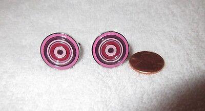 Pink Enamel Cufflinks - Paul Smith Bullseye Cufflinks Purple Pink Enamel Target Signed --Mint!