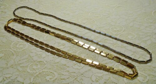 VINTAGE BEADED SILVER & GOLD TONE LONG LAYERING CHAIN NECKLACE LOT