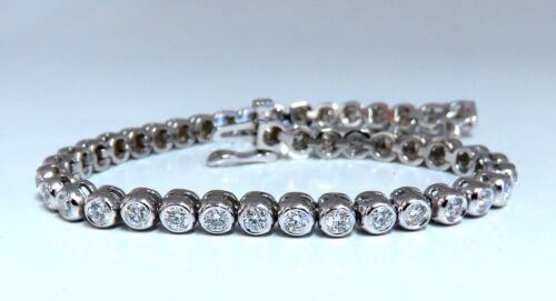 3.05ct Natural Diamonds Tennis Bracelet 14kt Gold Smooth Anti-catch