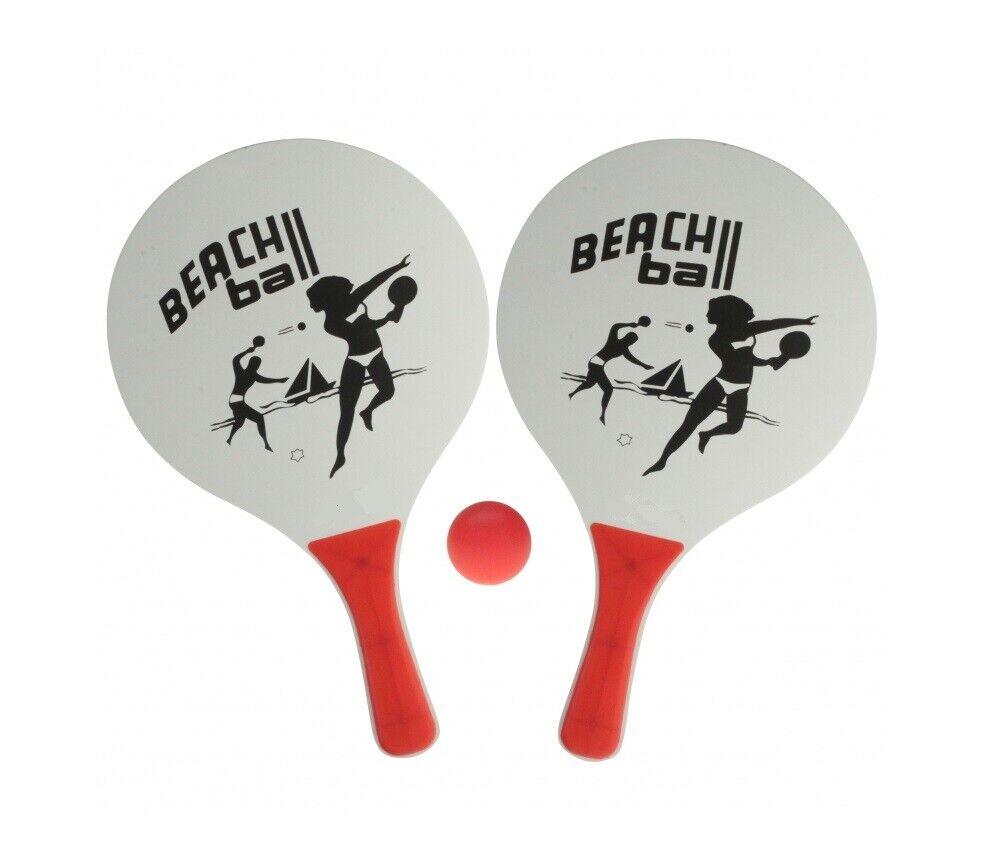 Beachball Set: 2 Schläger und 1 Ball - Strand Tennis Strandspiel Groß/Weiß