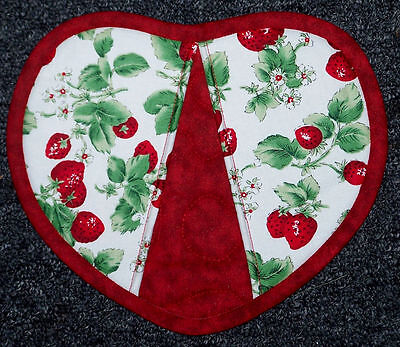 Heart Shaped Strawberries Fruit Garden Oven Mitt Pot Holder Handmade