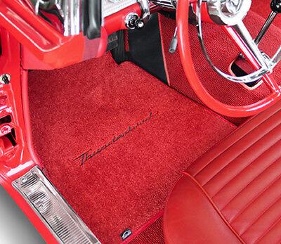 NEW! 1955-1997 Red Floor Mats T-Bird Thunderbird with Black Script Logo Pair Set - Red Floor