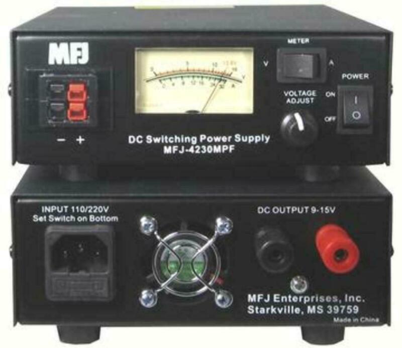 MFJ-4230MPF 30 AMP 4-16 VDC Power Supply w/ Meter, W Binding Posts & Power Poles