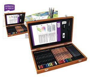 Derwent Academy Wooden Gift Box Set of Colour Pencils & Art Accessories