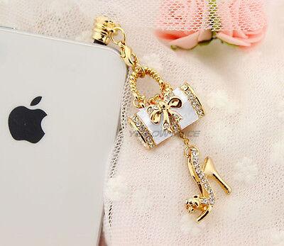 Luxury Handbag&High-heel Shoe Girl LadyGift Crystal Bling Anti Dust Plug Ear Cap