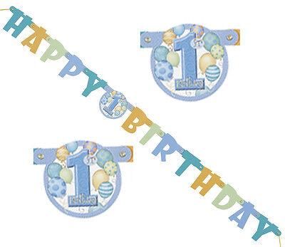 1. Geburtstag Girlande Banner Aufschrift HAPPY BIRTHDAY Junge Kind Länge 119cm
