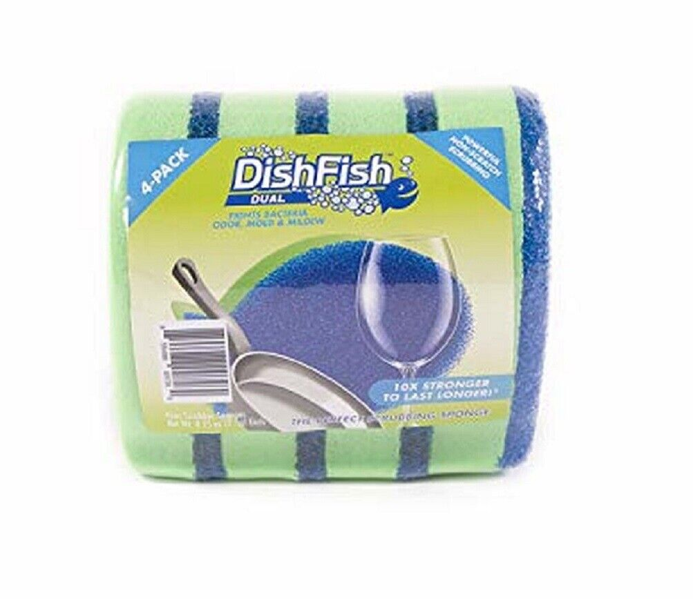 DishFish DUAL Scrubber Sponge Non-Scratch Absorbent Bacteria & Odor Resistant 4 Cleaning Tools
