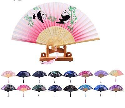 - Japanese Chinese Hand Held Fan Bamboo Silk Butterfly Flower Folding Fan Wedding