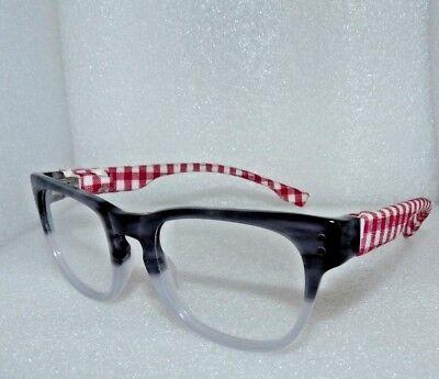 NEW EYEGLASSES GLASSES FRAMES LENSES RED CHECKERED CLOTH GRAY FADE 47-17-140