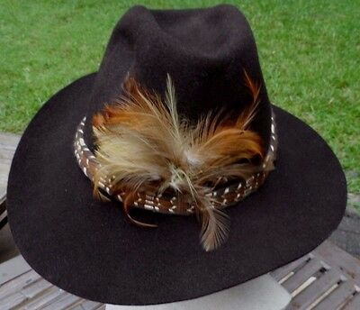 Dark Brown Western Broad Brim Heavy Felt Trail Boss Cowboy Hat XL (23.5