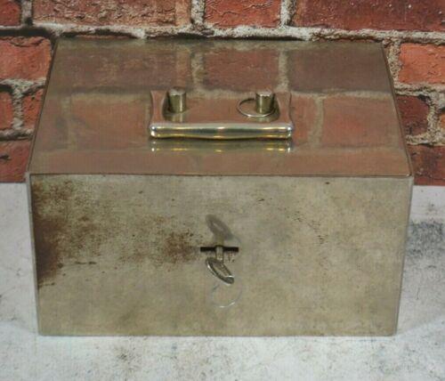 Vtg Hand Safe Lock Box, Fire Box Home ALARM Still Bank w/Working LOCK KEY TRAY