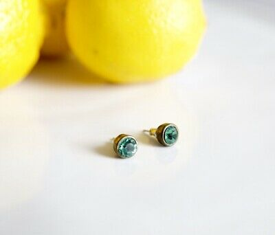Statement Vintage stud earrings With Evergreen Green Crystals Gift Idea