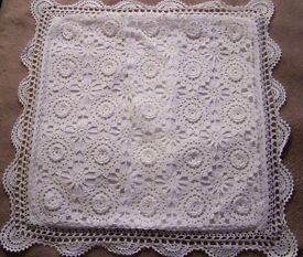 White lace cushion covers . Beautiful. Four to be sold together.