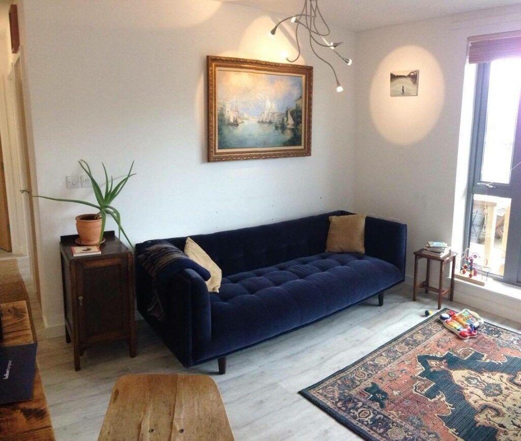 Made Sofa 3 Seater Connor Navy Velvet