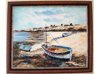 *** Boats Oil Hand Painting - Mahogany frame ***