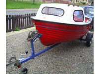 FAMILY FISHERMAN 12FT BOAT WITH 5 HP EVINRUDE TWO STROKE OUTBOARD & ROADWORTHY TRAILER