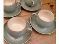 4 Denby Camelot Cups and Saucers, Olive Green.