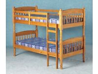 Wooden Bunk Bed with 2 mattresses