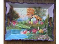 Handmade Wood Painting Tray