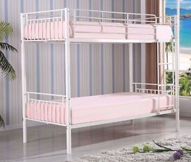 【BRAND NEW】EXPRESS DELLIVERY SINGLE WHITE METAL BUNK BED THAT SPLITS INTO 2 SINGLE BEDS