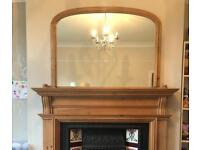 Oak over mantle mirror
