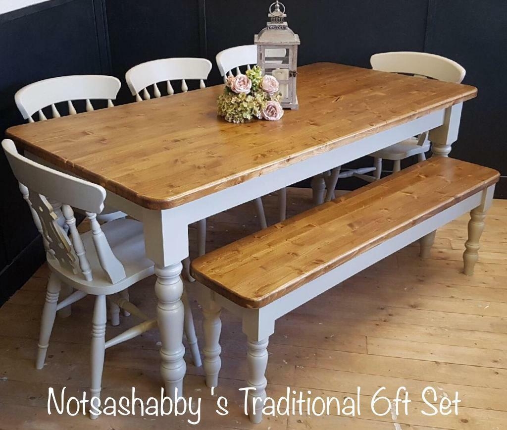 NEW PINE HANDMADE FT FARMHOUSE TABLE CHAIRS AND BENCH In Moortown - 6ft dining table and chairs