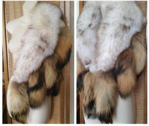 "Vintage FOX FUR Stole LONG 55"" Wrap Unique Beautiful colours Cream Brown Oakville Cosplay Native Hippie Over Jacket Coat"