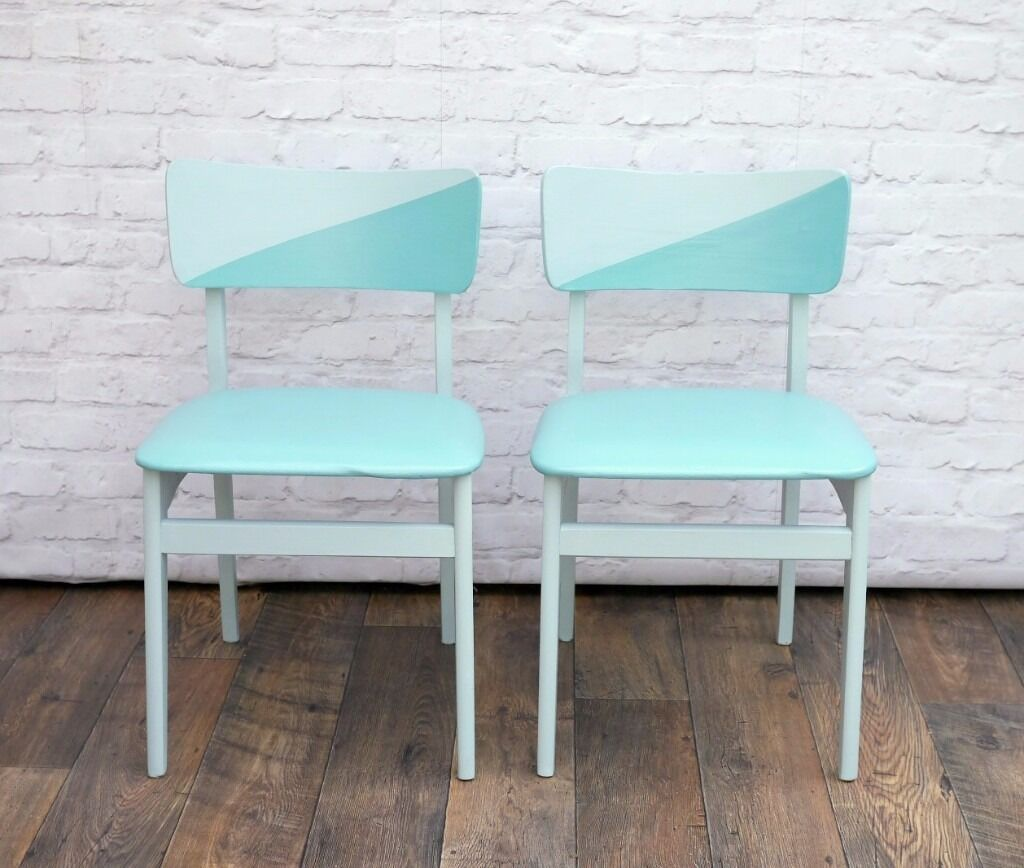 2 Retro Dining Chairs upcycled Painted Duck Egg Blue in