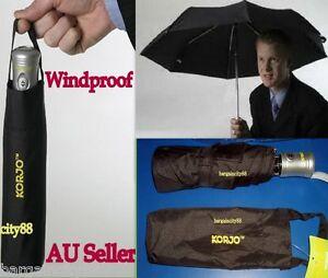 New-KORJO-Mens-Women-Windproof-Auto-Automatic-Open-Close-Folding-Umbrella-Black