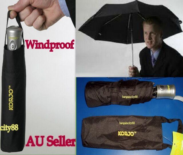 KORJO Windproof Auto Automatic Open&Close Folding Mens Womens Umbrella Black New