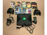 Original Xbox with two controllers and games