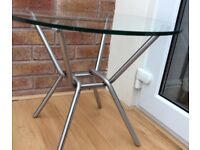 M&S Circular Clear Glass Lamp Table, New / Boxed