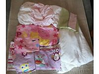 Toddler / Cot Bed Bedding Peppa Pig / Owl Design- Quilt Pillow Quilt Covers Pillow Cases Sheets £8