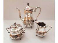 WMF antique set: teapot or coffee pot, sugar bowl, milk jug, silver plated, 1910