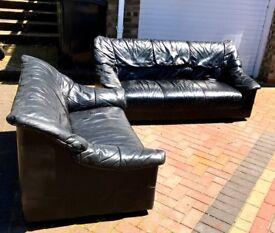 Black leather sofas (2)
