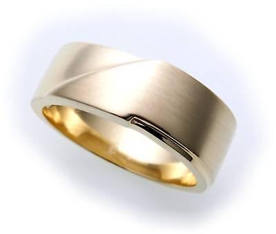 Herren Ring echt Gold 585 teilmattiert massiv 14kt Gelbgold maissve Qualität ()