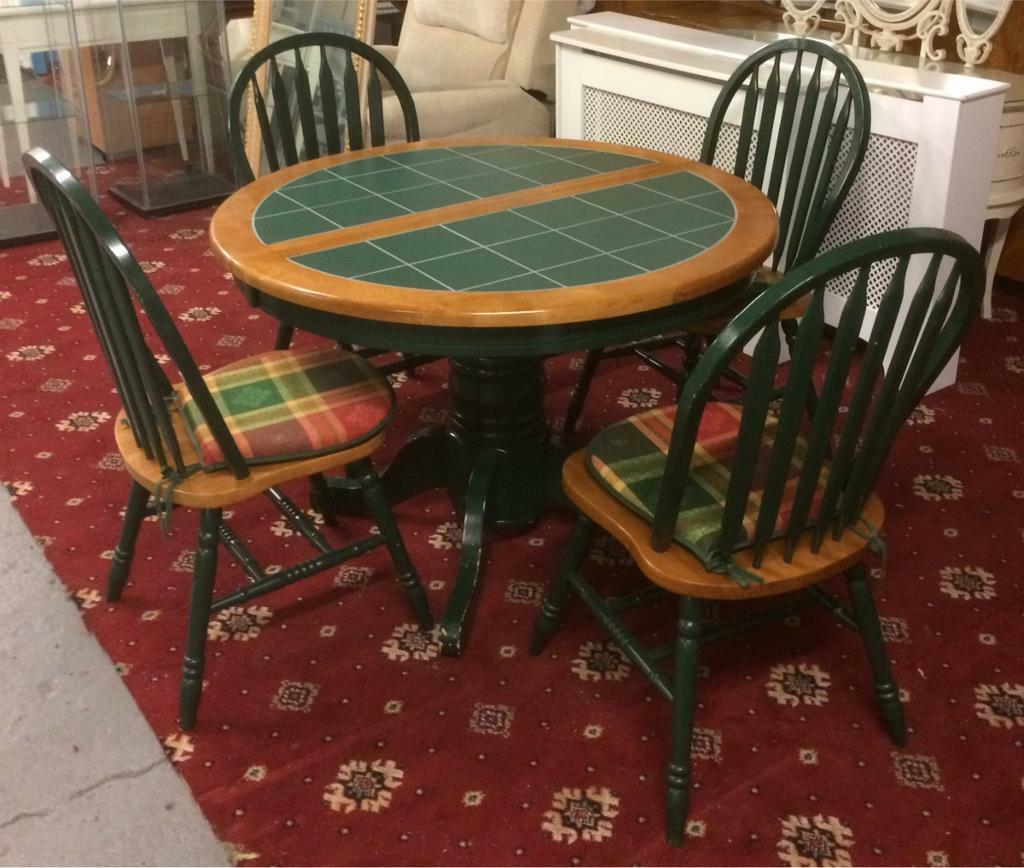 Green Tile Top Dining Table And Chairs Price Reduced In