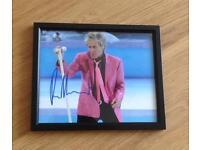 Hand Signed / Framed Photo Of Rod Stewart