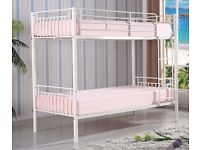 100% GUARANTEED CHEAPEST PRICE! SINGLE METAL BUNK BED IN SILVER & WHITE
