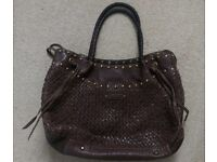 Coccinelle brown weaved leather handbag