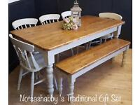STUNNING NEW HANDMADE PINE FARMHOUSE 6FT TABLE, BENCH AND CHAIRS
