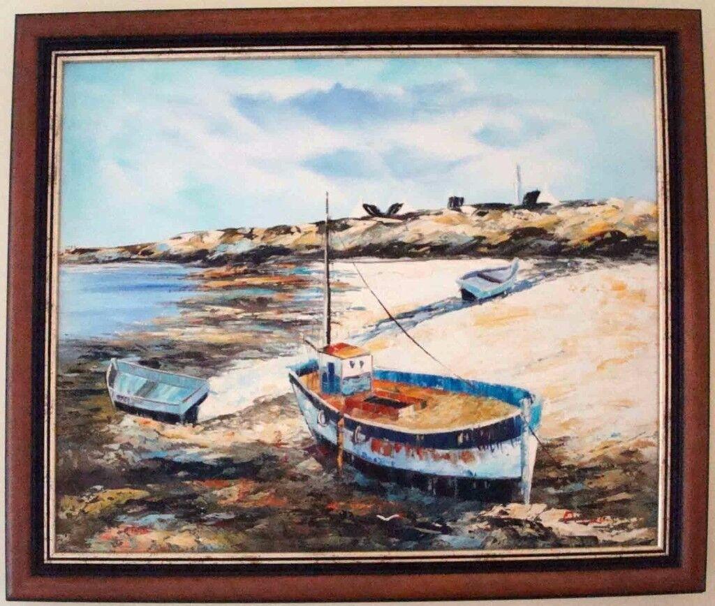 **** Boats Oil Hand Painting - Mahogany frame****