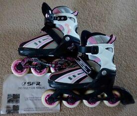SFR Vortex Inline Skates (Roller Blades) Size adjustable 12J-2 Kids (VG cond)