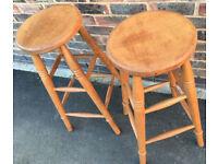 75 cm Tall Wooden Industrial Kitchen Bar Stool 4 leg wood stool