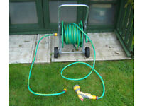 Hozelock Free Standing Hose Cart with approx 20m hose and multi-spay head