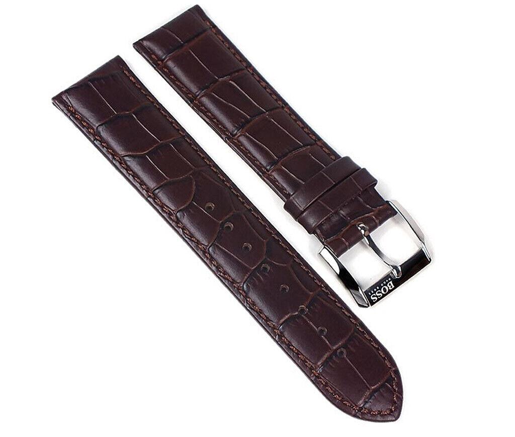 Hugo Boss Ersatzband Uhrenarmband Leder Band Dunkelbraun 22mm für 1512636