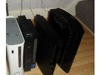 OLD FAULTY CONSOLES PS2 , PS3 AND XBOX 360