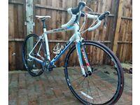 CUBE Peleton Road Racing Bike 56cm White blue red Shimano Tiagra freshly  serviced with new parts ea03601dbda35
